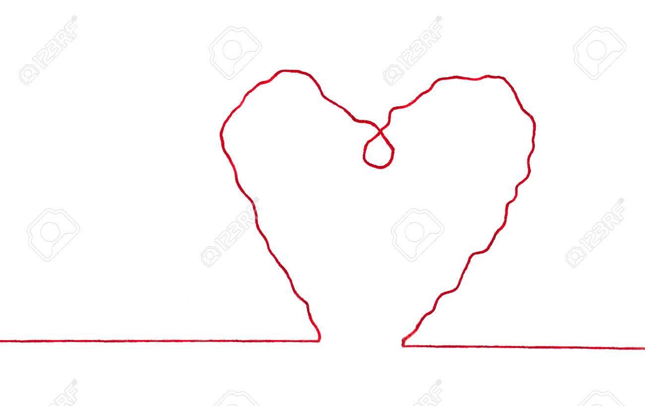 Roter Faden In Form Herz Zeichen Auf Weißem Hintergrund Isoliert ...