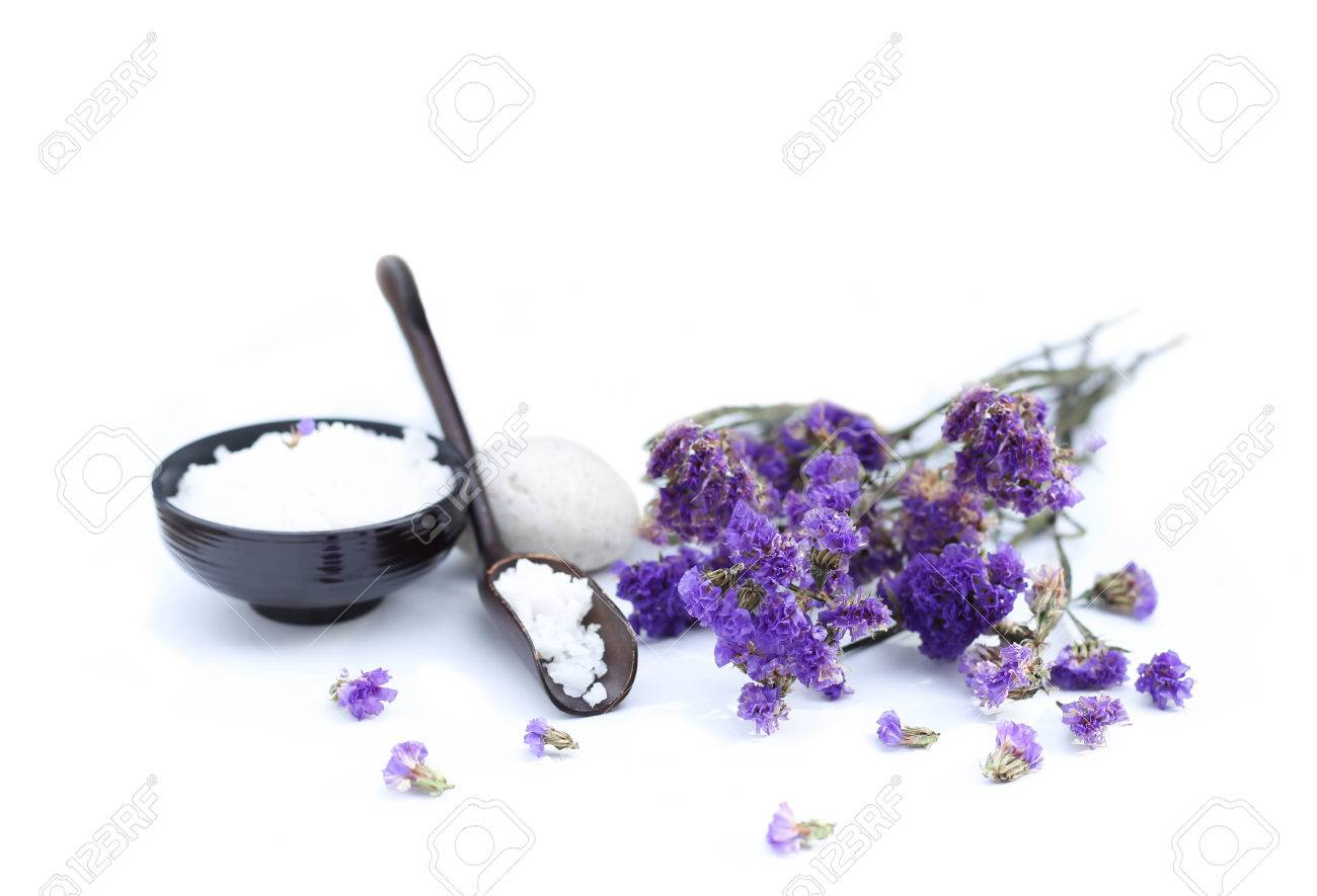 Spa accessories with thai herb and flower in white background - 40854093