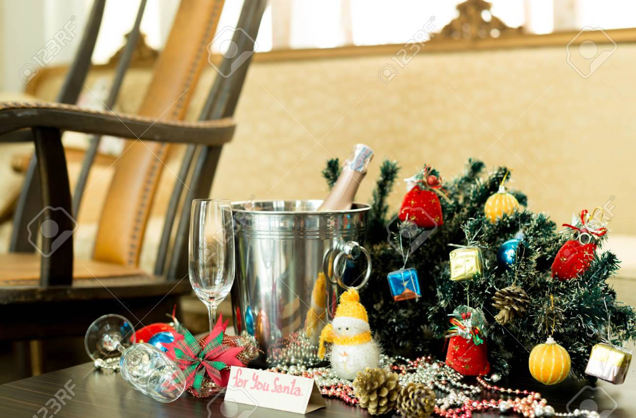 Enjoyable Christmas Decorations With Champagne Wine And Rocking Chair Machost Co Dining Chair Design Ideas Machostcouk
