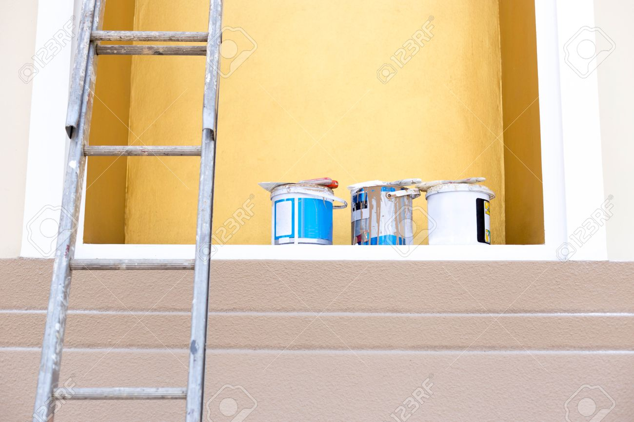 Selected Focus Buckets Color Paint With Paint Brush On Top And ...