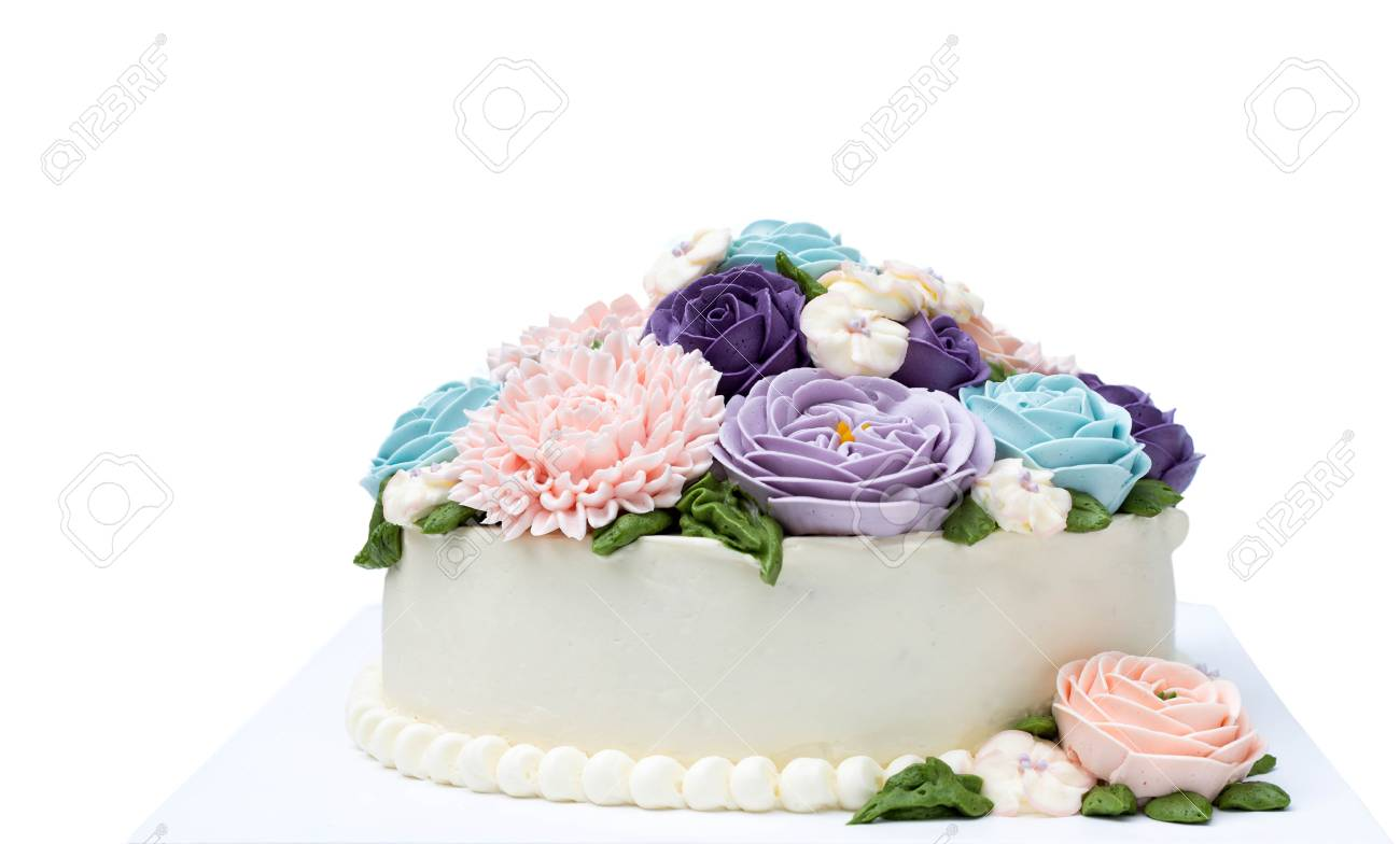 Birthday Cake With Colorful Flowers Isolated On White Background