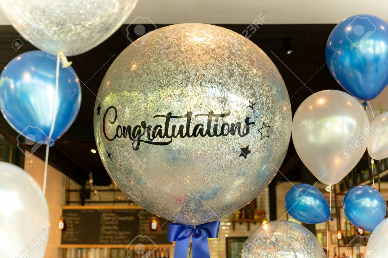 Balloons With Word Congratulation On Ballon Decoration In The