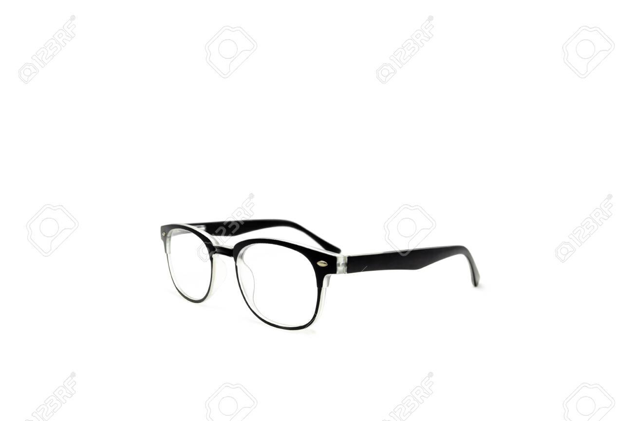 Black Frame Eye Glasses Isolated In White Background