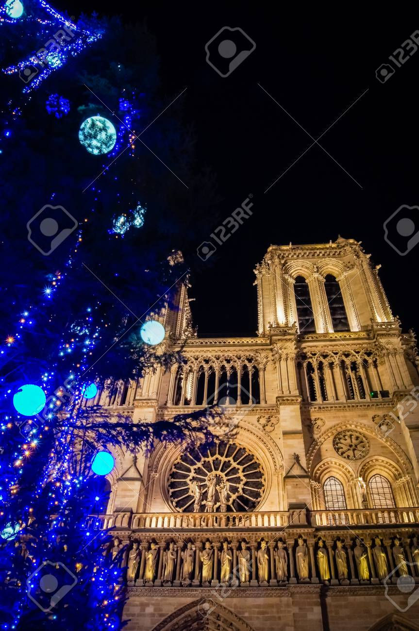 Notre-Dame Cathedral During The Christmas Season In Paris In.. Stock ...