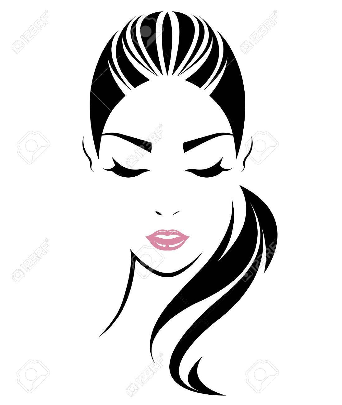 women long hair style icon, logo women face on white background, vector - 62776389