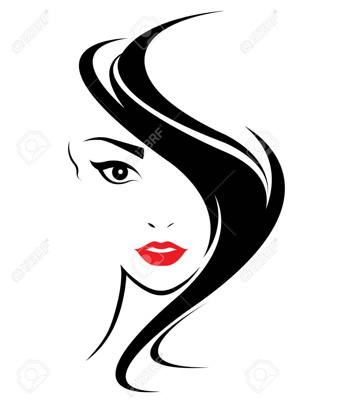 women long hair style icon logo women face on white background rh 123rf com vector woman silhouette vector woman body