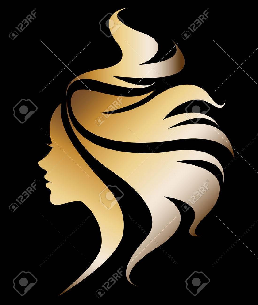 illustration vector of women silhouette golden icon, women face logo on black background - 62776404