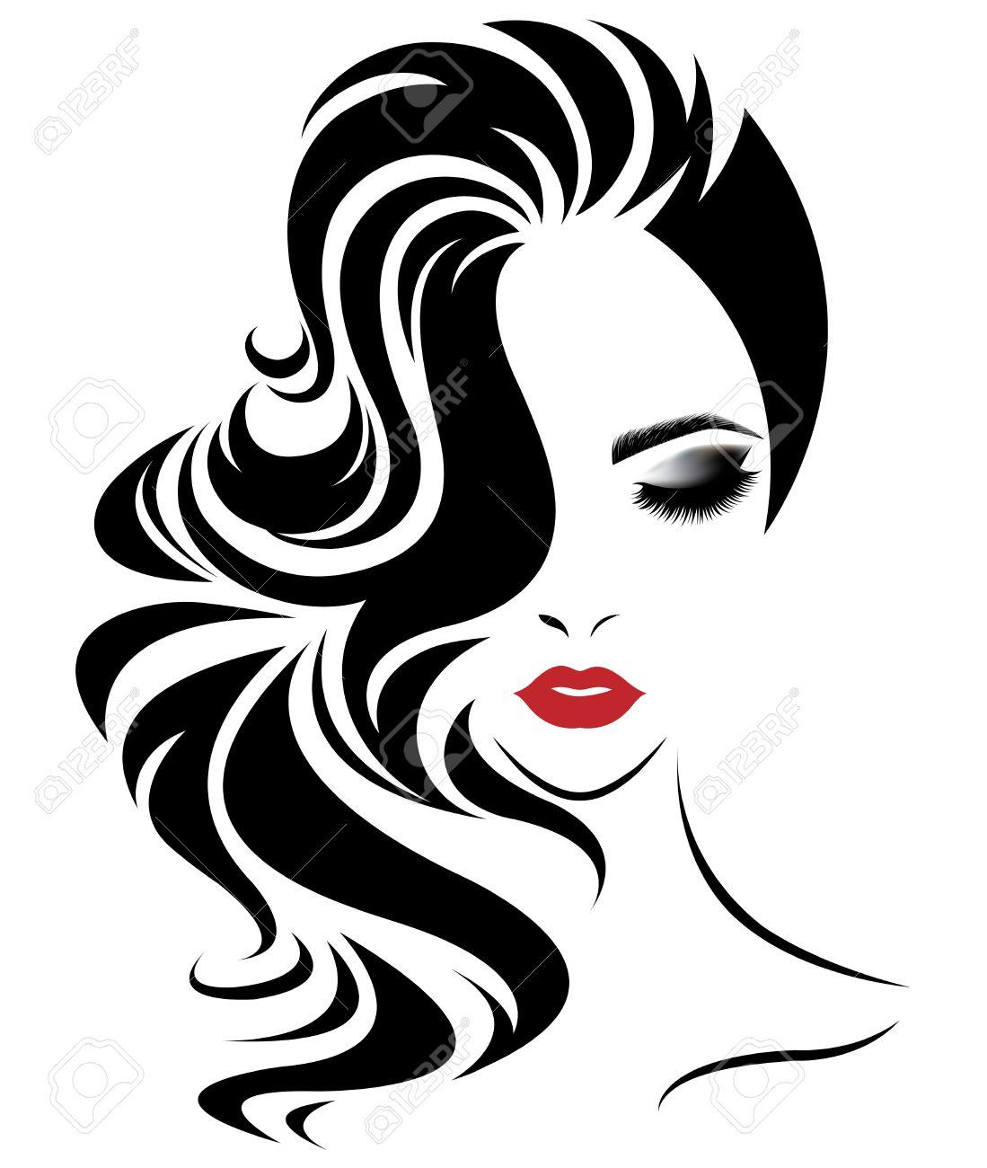 illustration of women long hair style icon, logo women face on white background, vector - 64872027