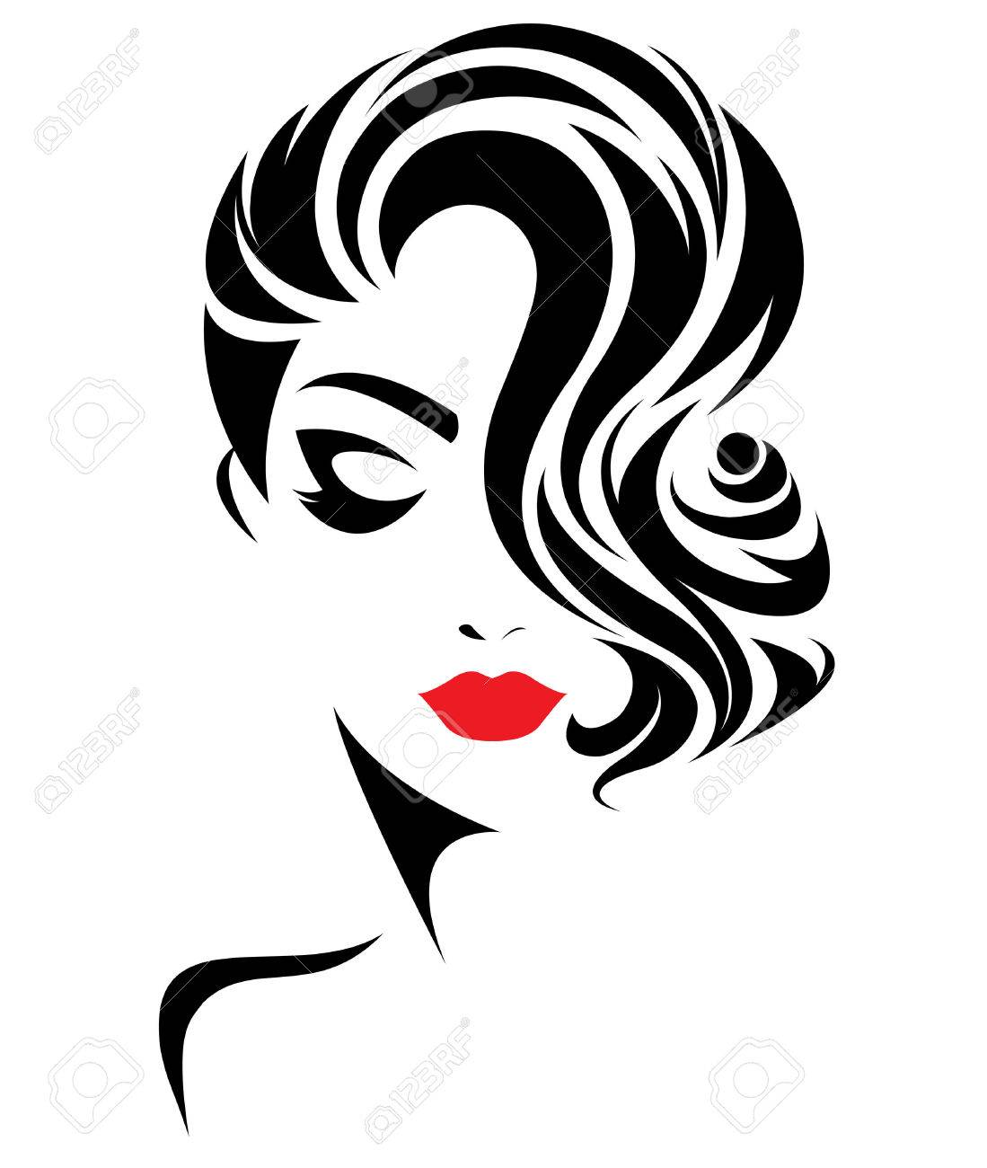Illustration Of Women Short Hair Style Icon Logo Women Face