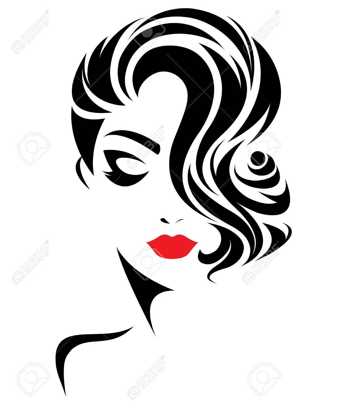 illustration of women short hair style icon, logo women face on white background, vector - 66627298