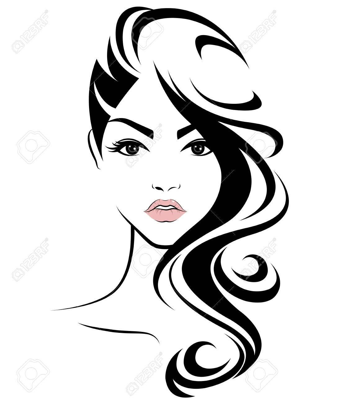 Illustration Of Women Long Hair Style Icon Logo Women Face On