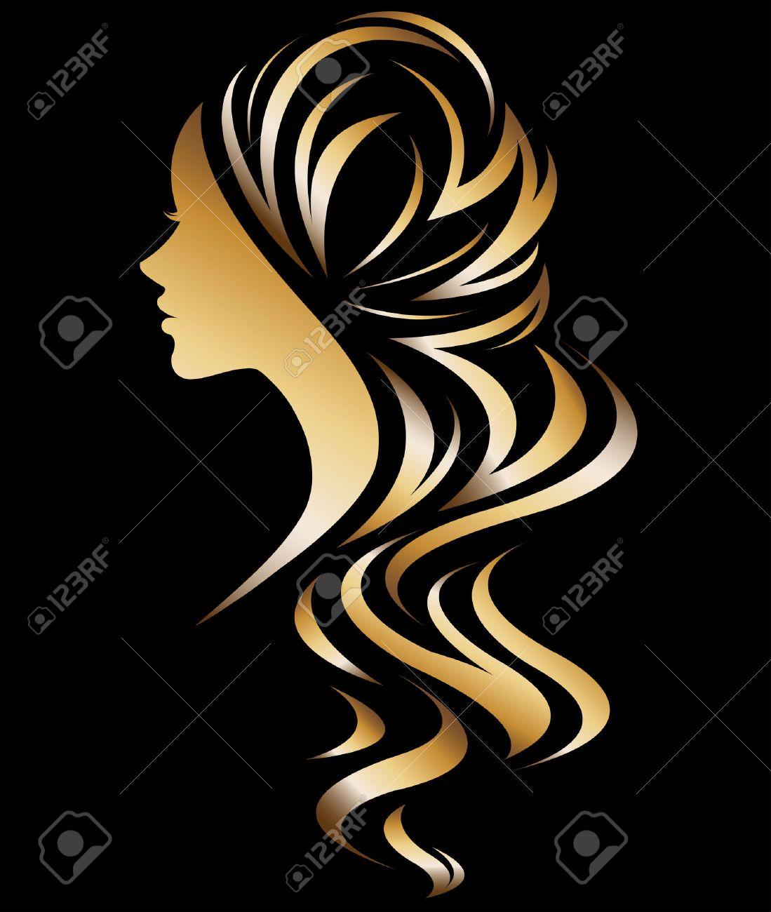 illustration vector of women silhouette golden icon, women face logo on black background - 69149707