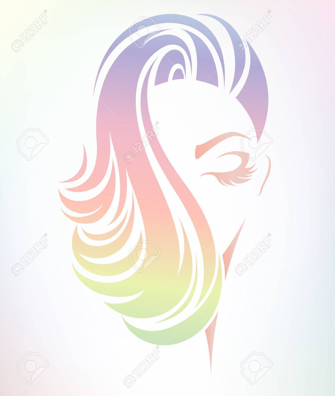 Illustration Of Women Hair Color Style Icon Logo Women On Color