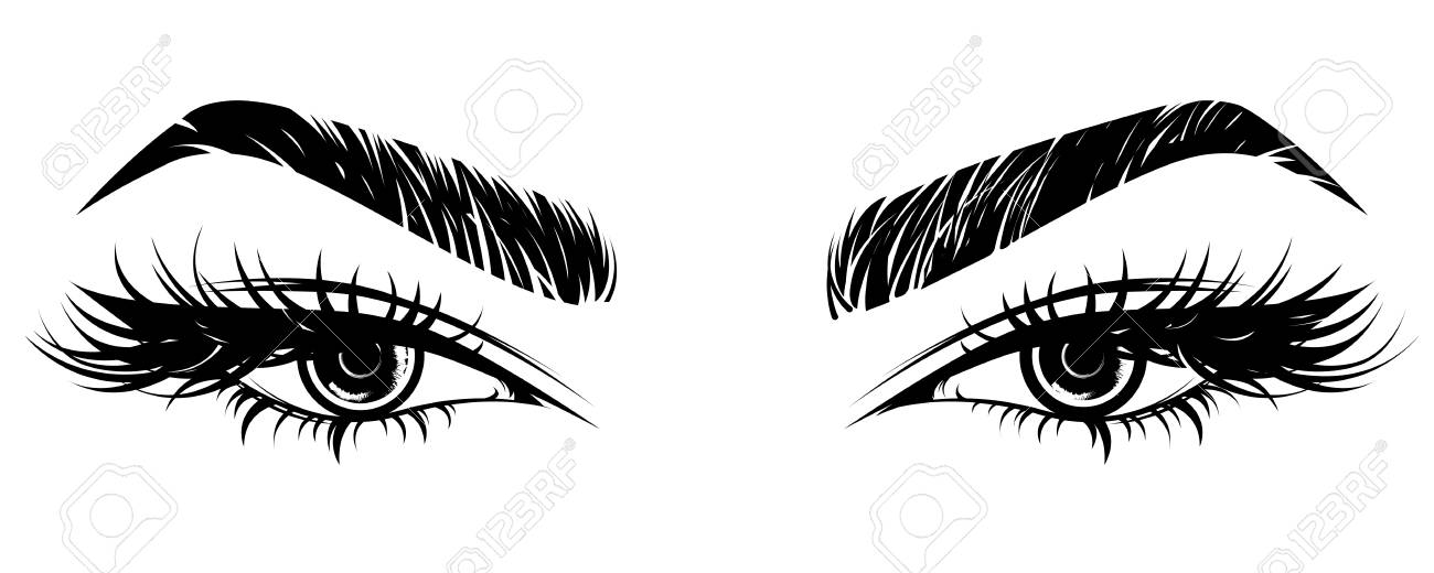 Illustration Vector Of Beautiful Eye Makeup And Brow On White