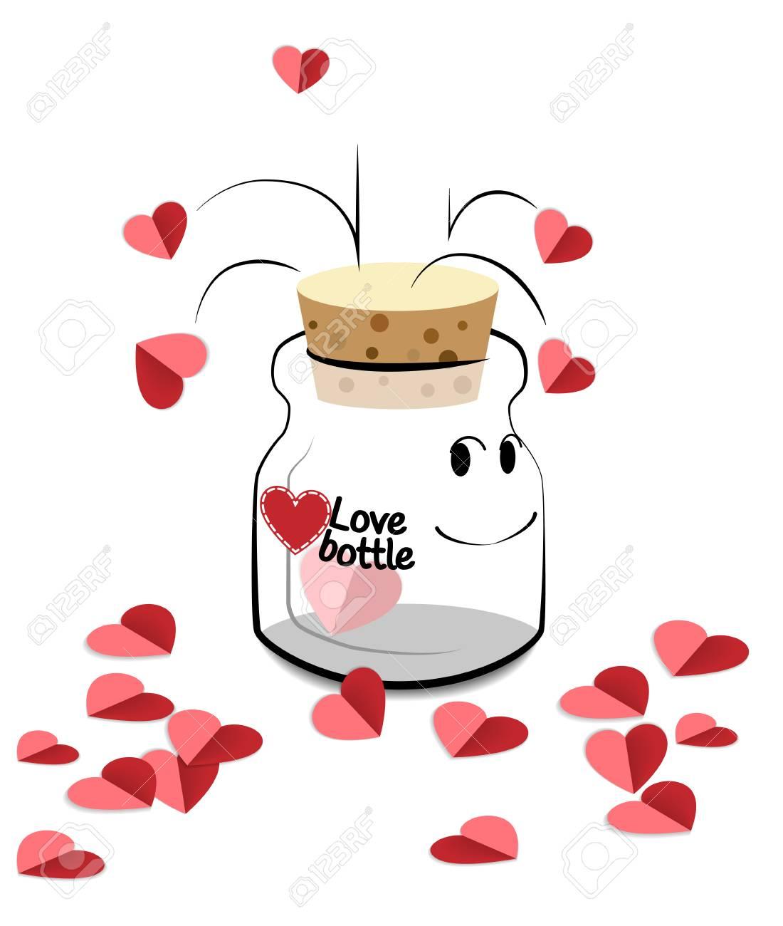 Feliz Dia Dos Namorados Garrafa Dos Desenhos Animados Que Mantem