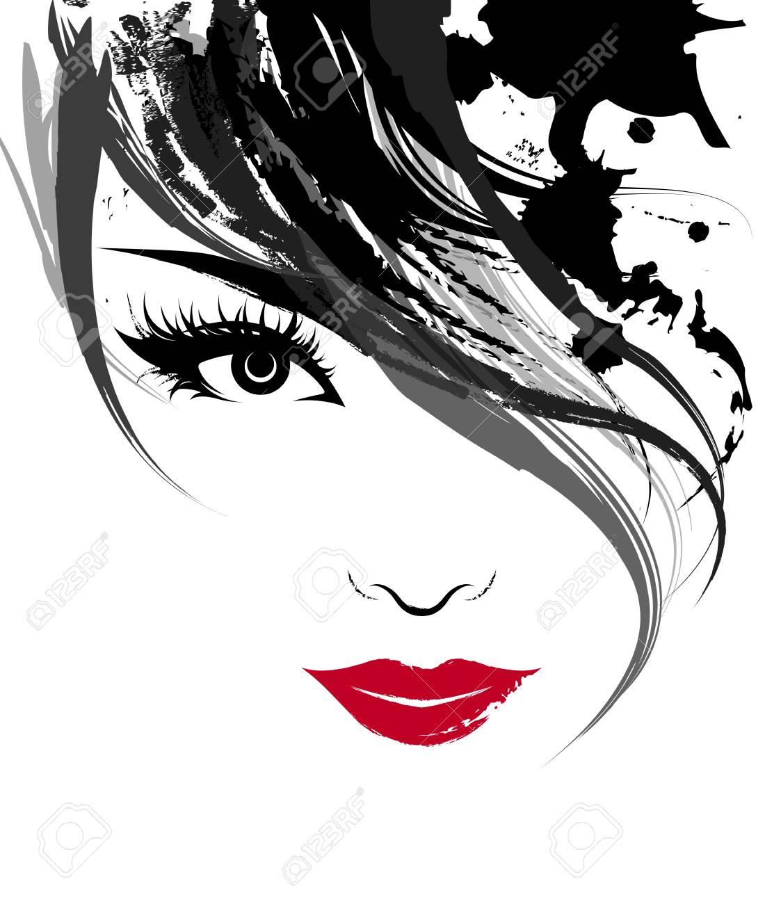 illustration of beautiful women, logo women face makeup on white background, vector - 96950731