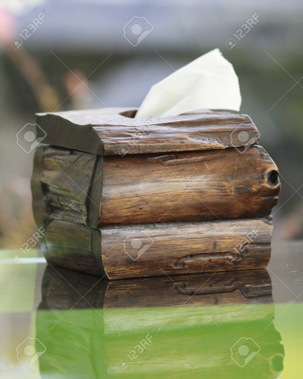 Tissue paper box made by  old wood. Stock Photo - 24674476