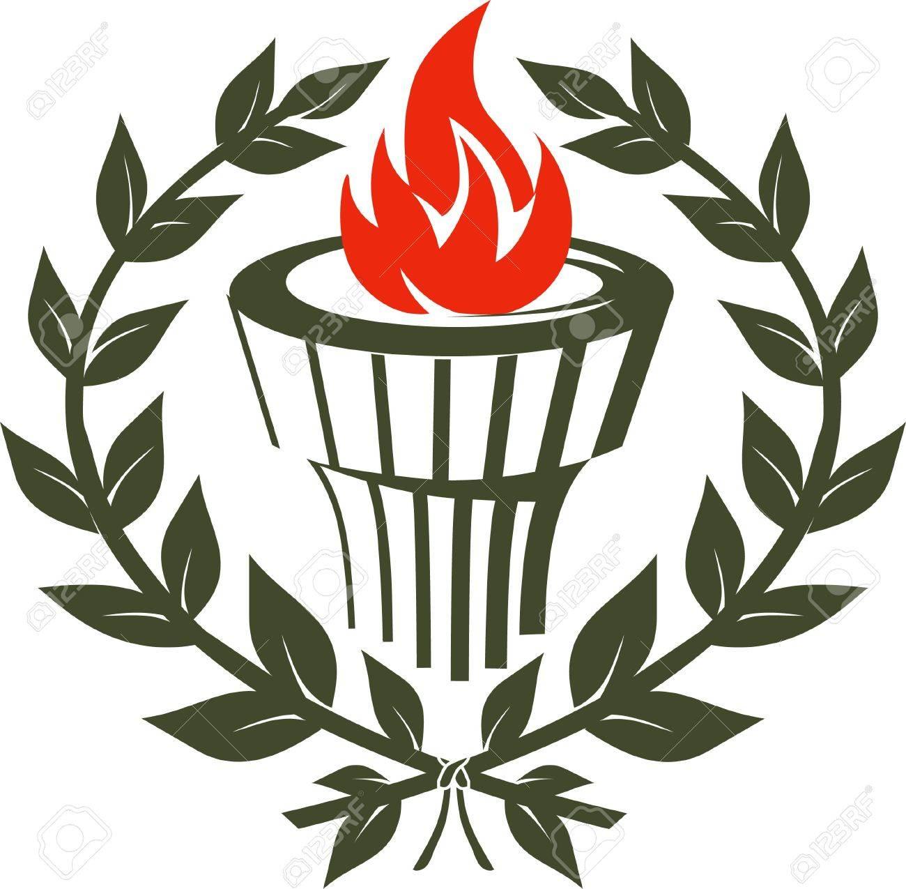 Laurel Torch Emblem Stock Vector - 9886622