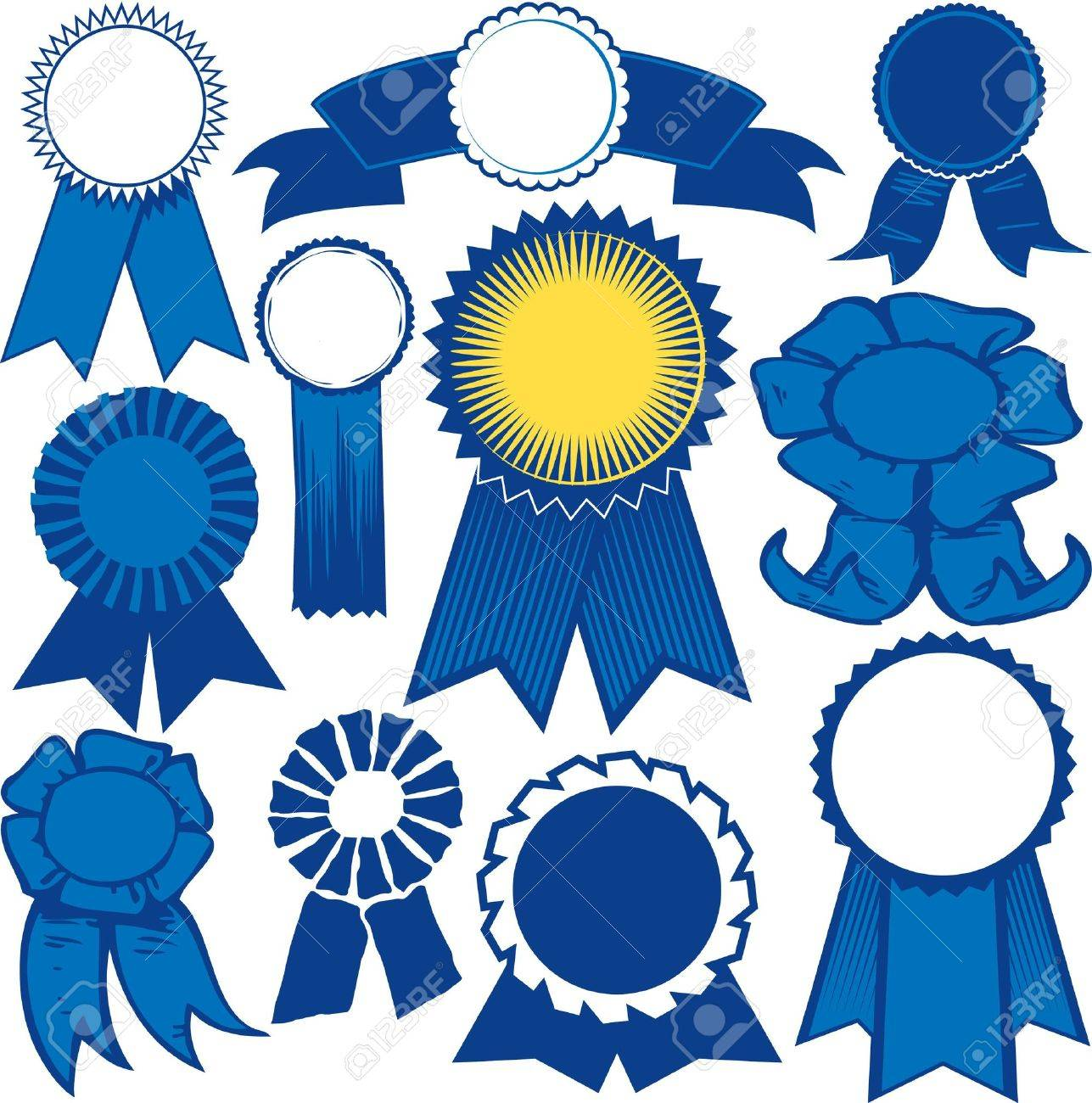 Blue Ribbon Collection Stock Vector - 12891014