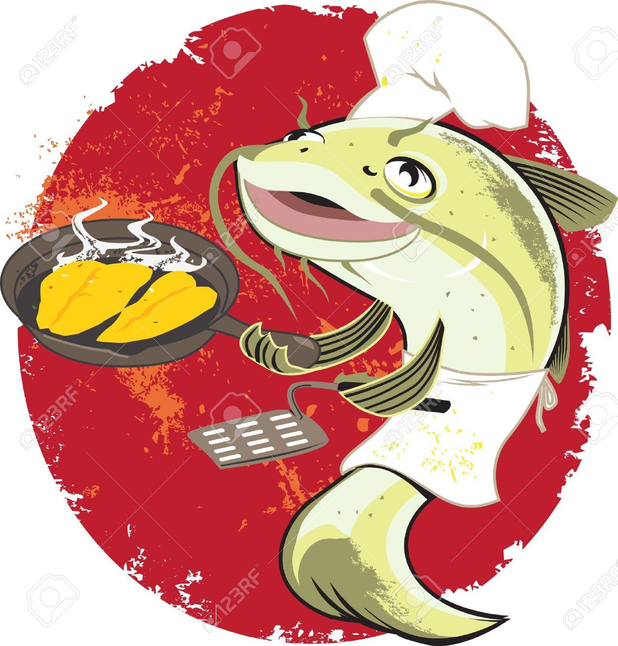 Catfish Fry Cook Stock Vector - 12891037