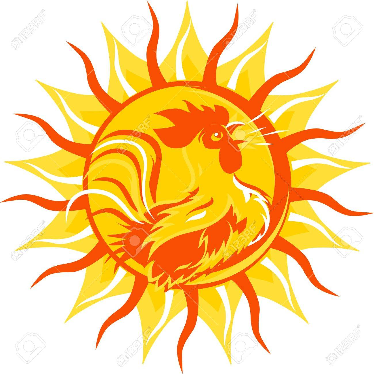 Rooster Sunrise Stock Vector - 12891042