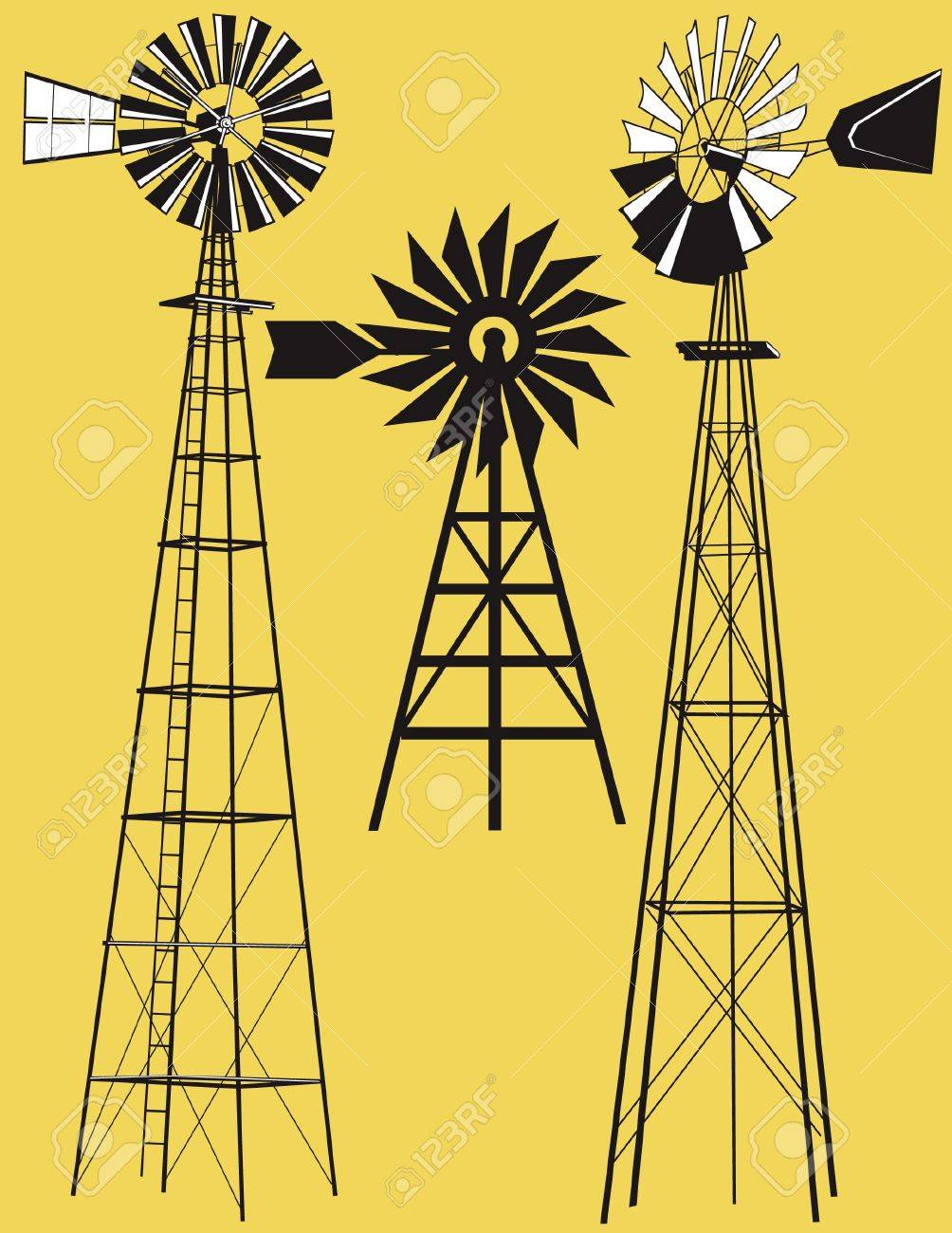 Three Windmills Stock Vector - 12891072