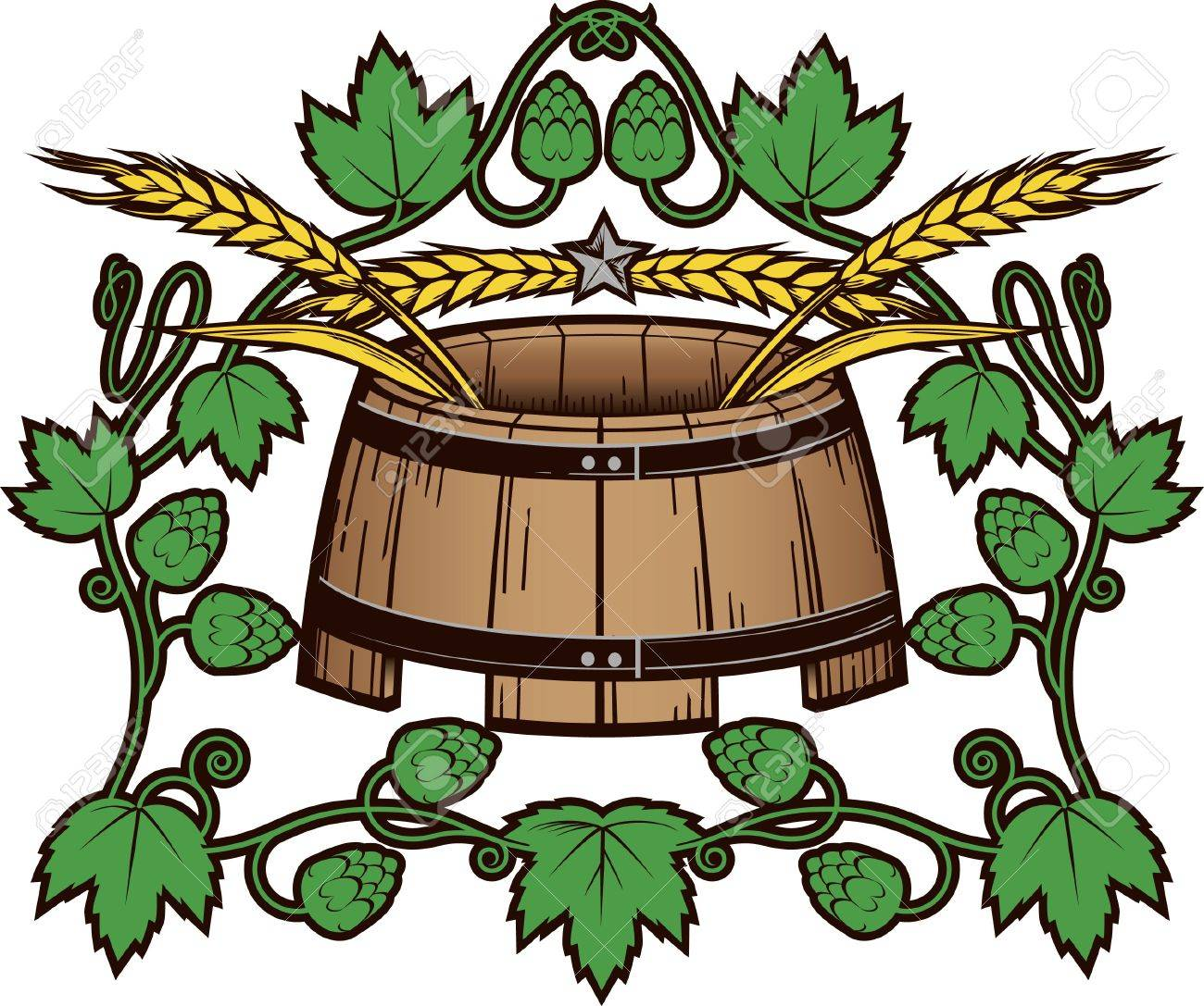 Wheat and Hops Barrel Stock Vector - 13142551