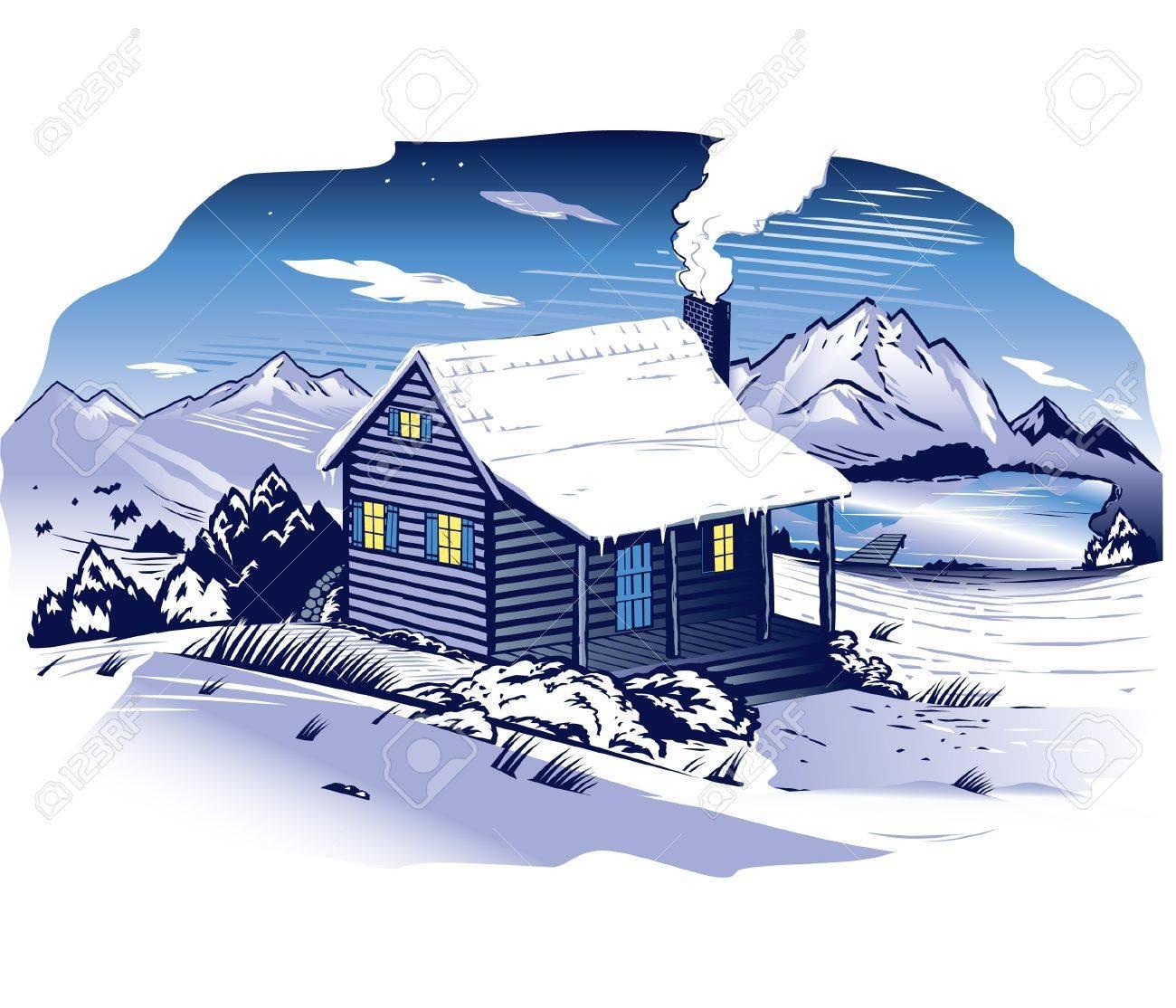 Snowy Mountainside Cabin Stock Vector - 13142608