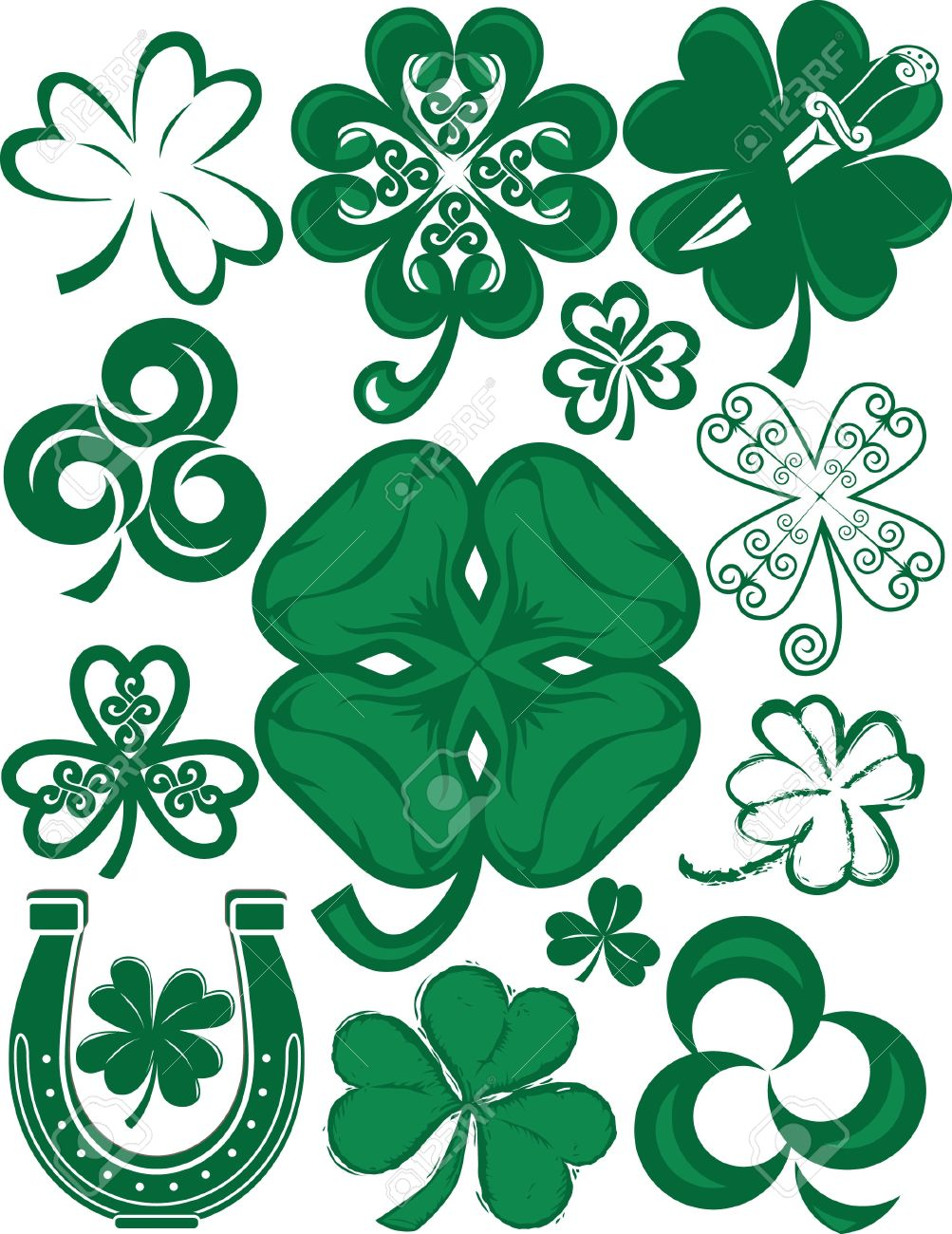 shamrock collection royalty free cliparts vectors and stock