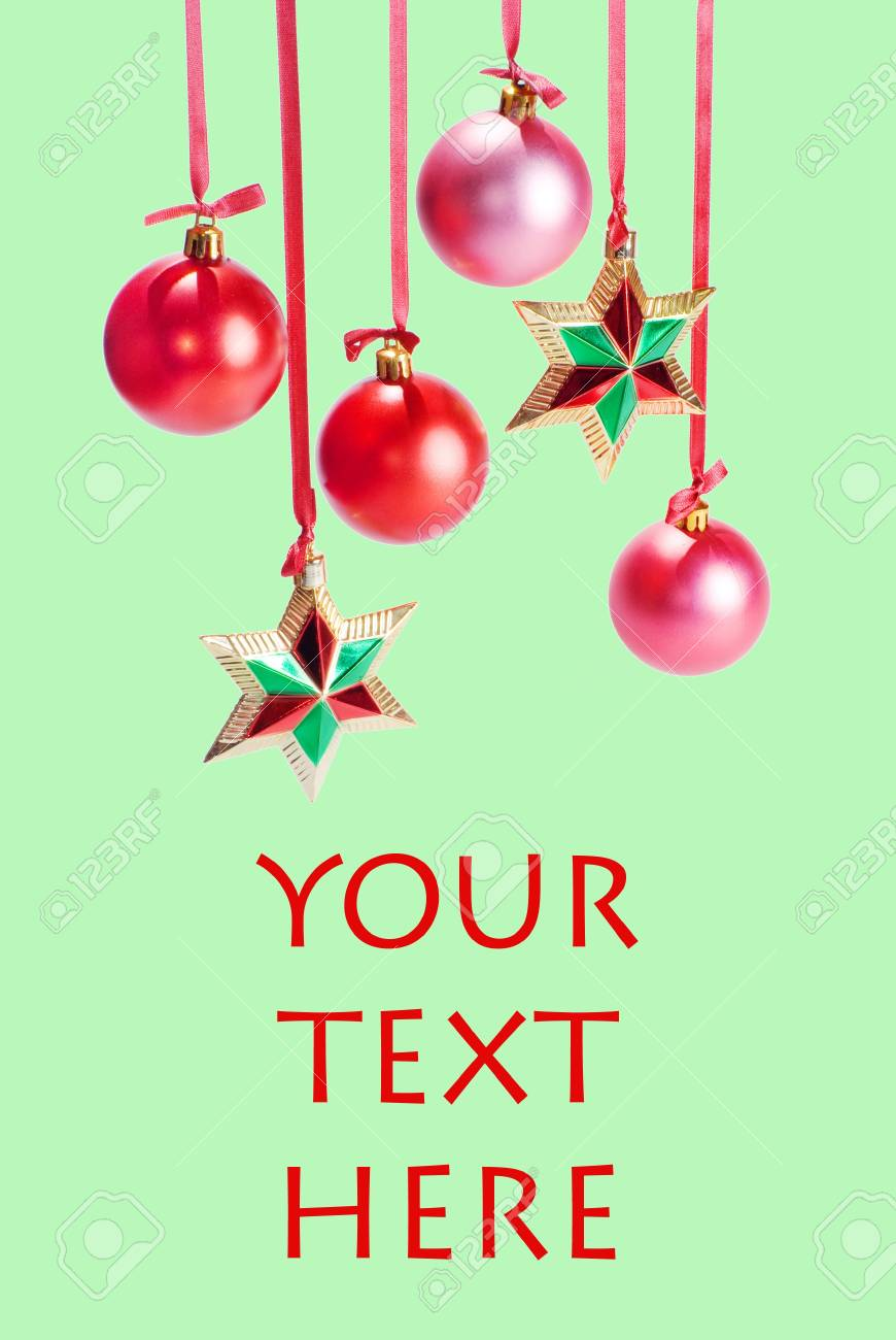 Christmas card with spheres and stars on the green background Stock Photo - 8288414