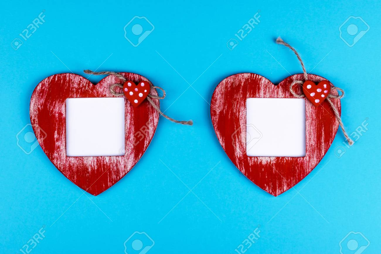 Love Card Template With Blank Photo Frame Heart Shaped On The ...