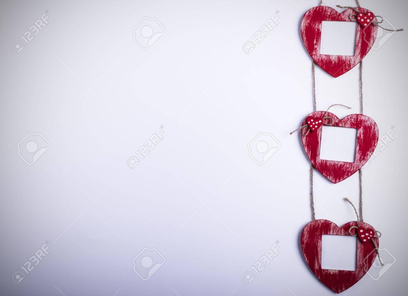 Liebeskarte Vorlage Mit Leeren Bilderrahmen Herz Auf Die Roten ...
