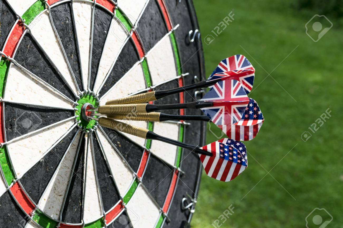 Metal Darts Have Hit The Red Bullseye On A Dart Board Darts Stock