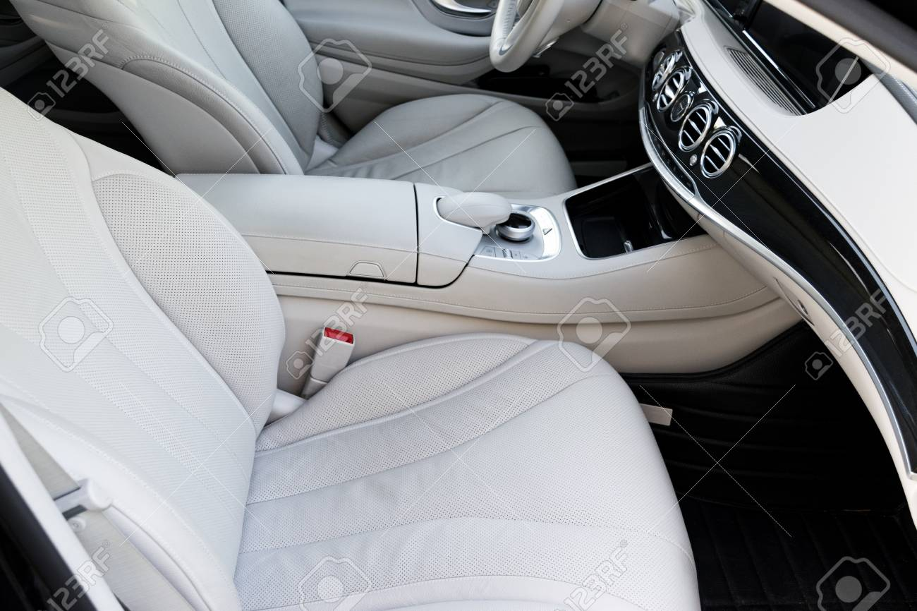 White Leather Interior Of The Luxury Modern Car Leather Comfortable Stock Photo Picture And Royalty Free Image Image 85613743