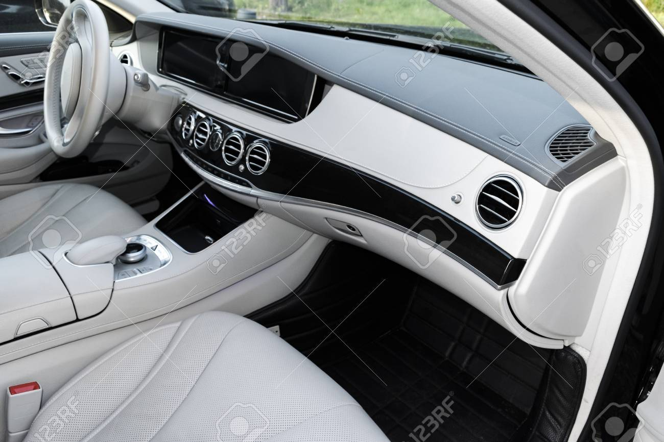 White Leather Interior Of The Luxury Modern Car Leather Comfortable Stock Photo Picture And Royalty Free Image Image 85613830