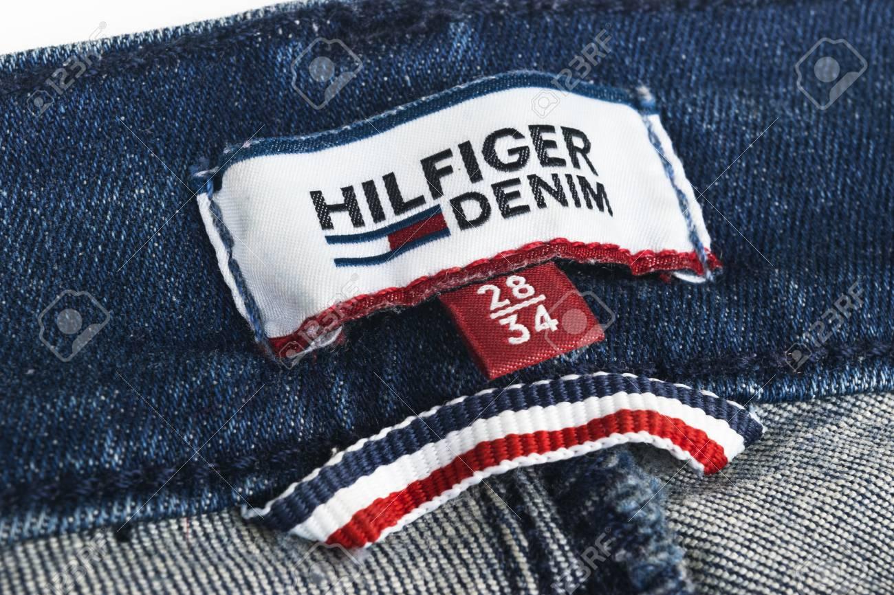 dd5178e8 Tommy Hilfiger blue jeans detail. Sankt-petersburg, Russia, October 9,  2017: Closeup of Tommy Hilfiger label