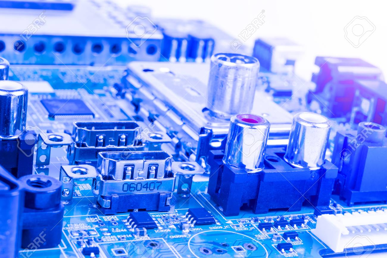 Circuitboard With Resistors Microchips And Electronic Components Computer Circuit Board Electronics Royalty Free Stock Hardware Technology Integrated Communication