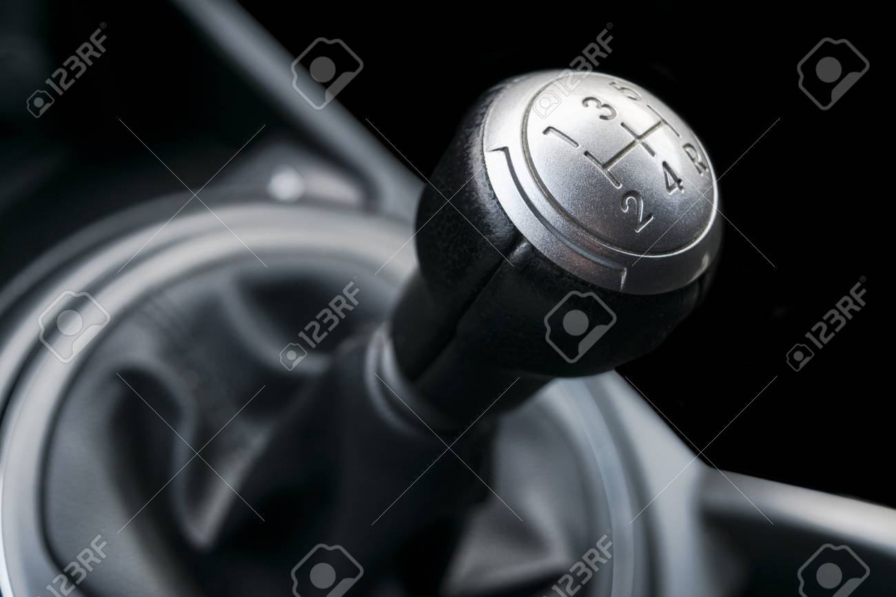Close up view of a gear lever shift  Manual gearbox  Car interior