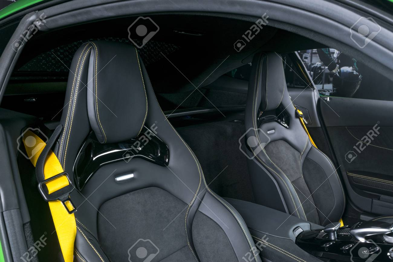 Modern Luxury Sport Car Inside Interior Of Prestige Car Black