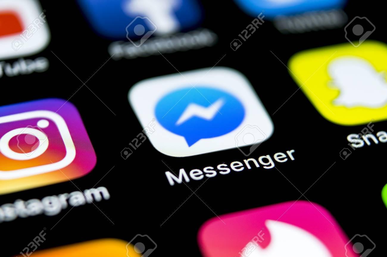 Sankt-Petersburg, Russia, April 12, 2018: Facebook messenger