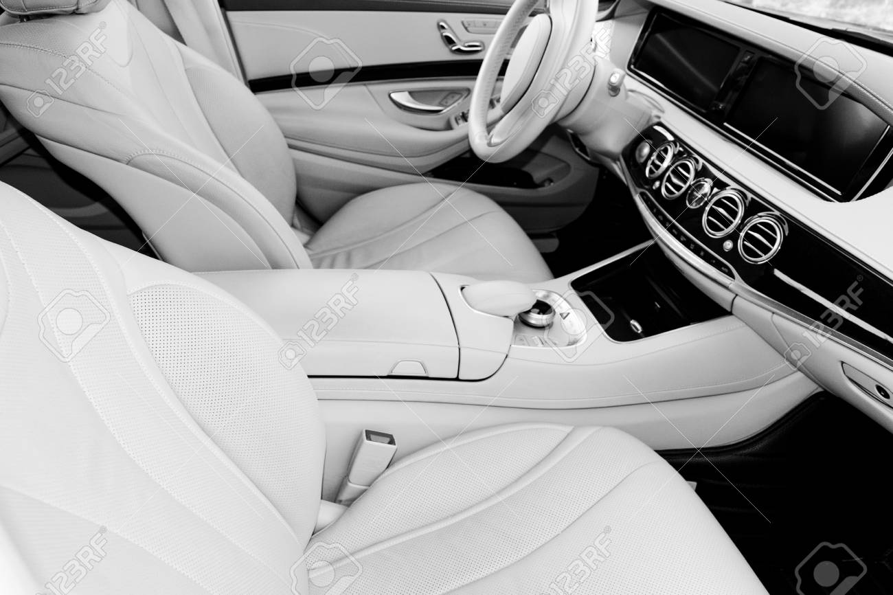 White Leather Interior Of The Luxury Modern Car Leather Comfortable Stock Photo Picture And Royalty Free Image Image 104767541