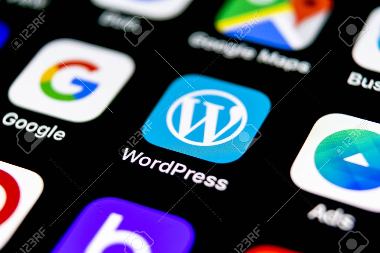Sankt-Petersburg, Russia, September 30, 2018: Wordpress application