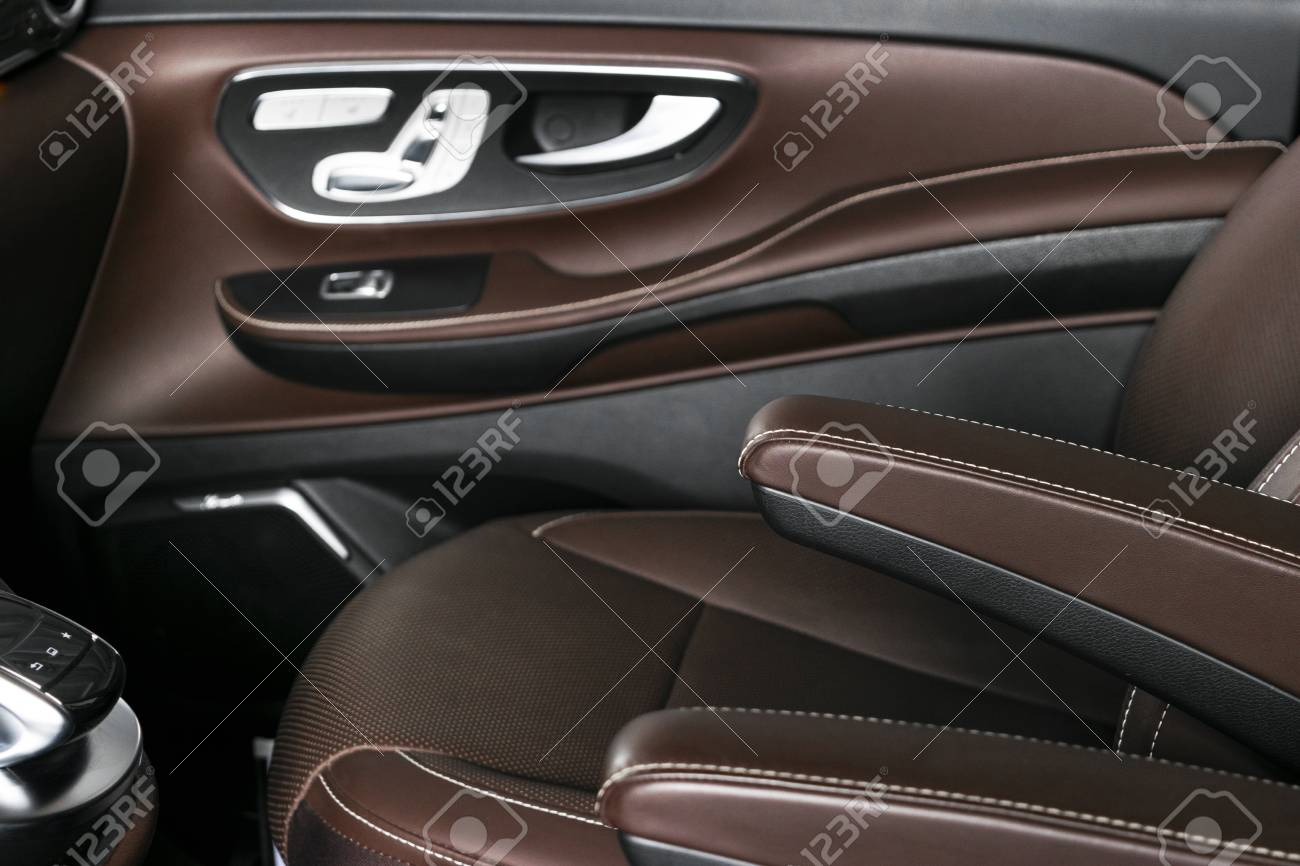 Modern Luxury Car Brown Leather Interior Part Of Leather Car Stock Photo Picture And Royalty Free Image Image 113114226