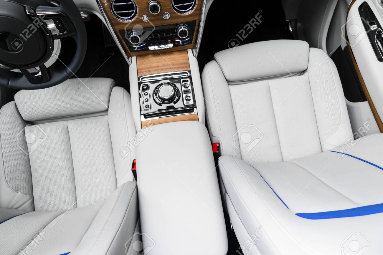 Modern Luxury Car White Leather Interior With Natural Wood Panel Stock Photo Picture And Royalty Free Image Image 119518378