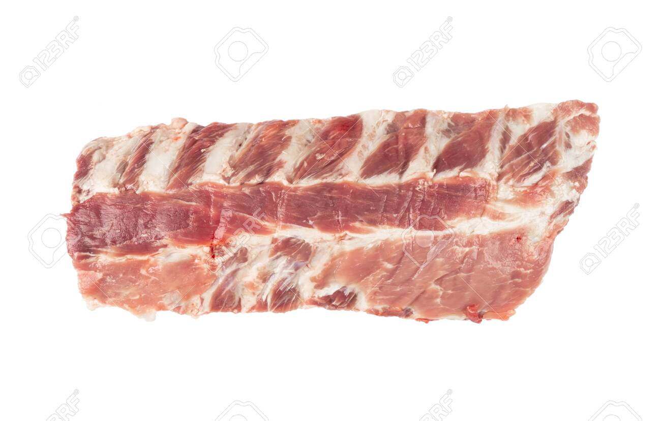 Raw pork meat ribs isolated on white background. Fresh pork meat ribs for barbeque. Strip of pork meat on ribs. BBQ pork ribs isolated over white - 145992916
