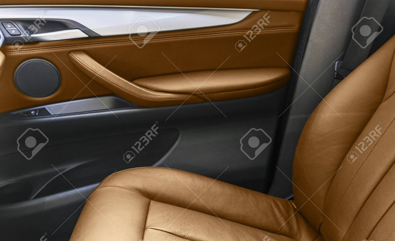 Brown Leather Interior Of The Luxury Modern Car Perforated Brown Stock Photo Picture And Royalty Free Image Image 150547067