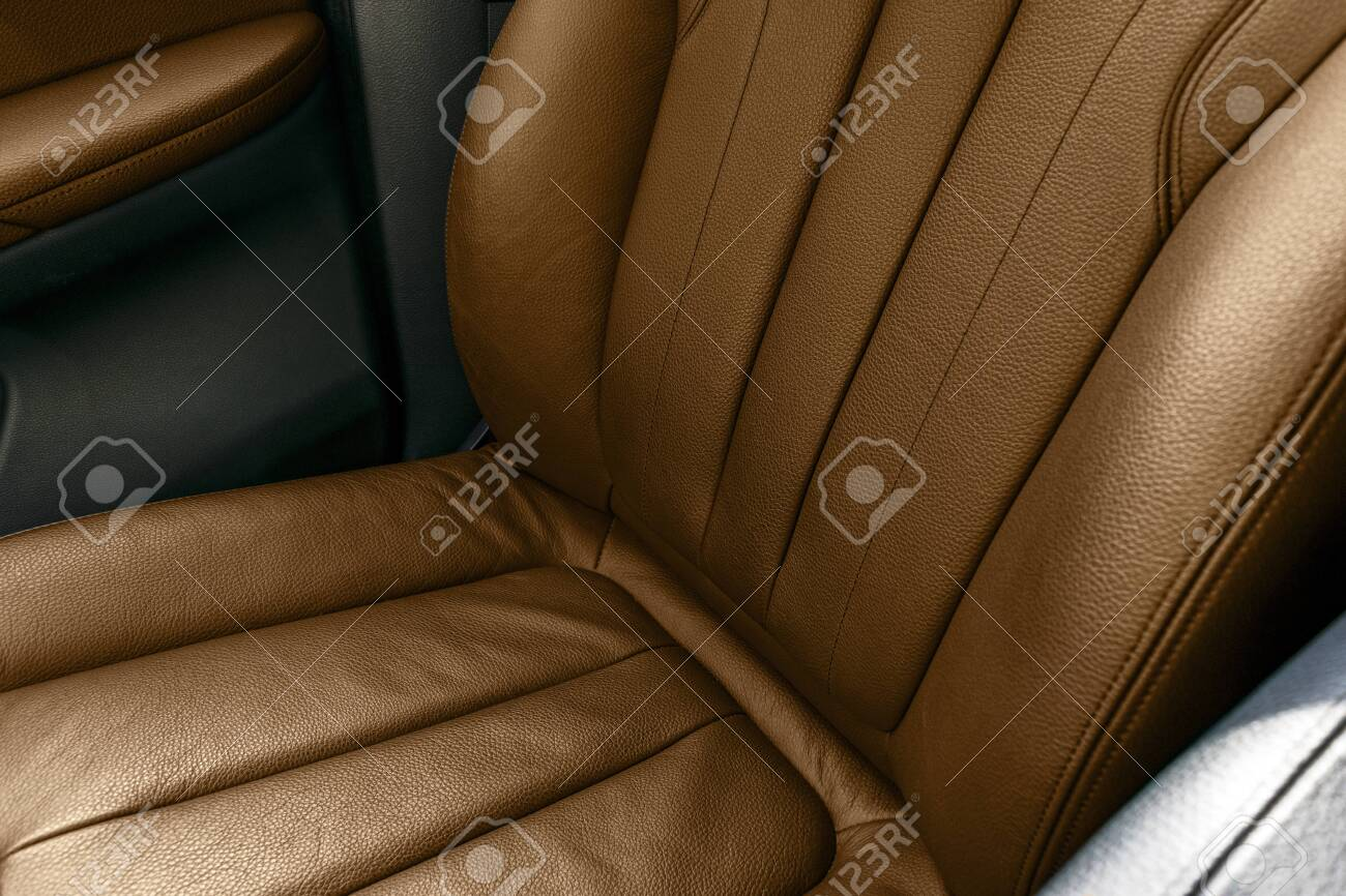 Brown Leather Interior Of The Luxury Modern Car Perforated Brown Stock Photo Picture And Royalty Free Image Image 150547071