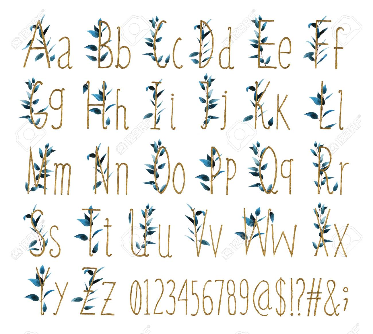 Font of all alphabet with numbers and signs is made of watercolor