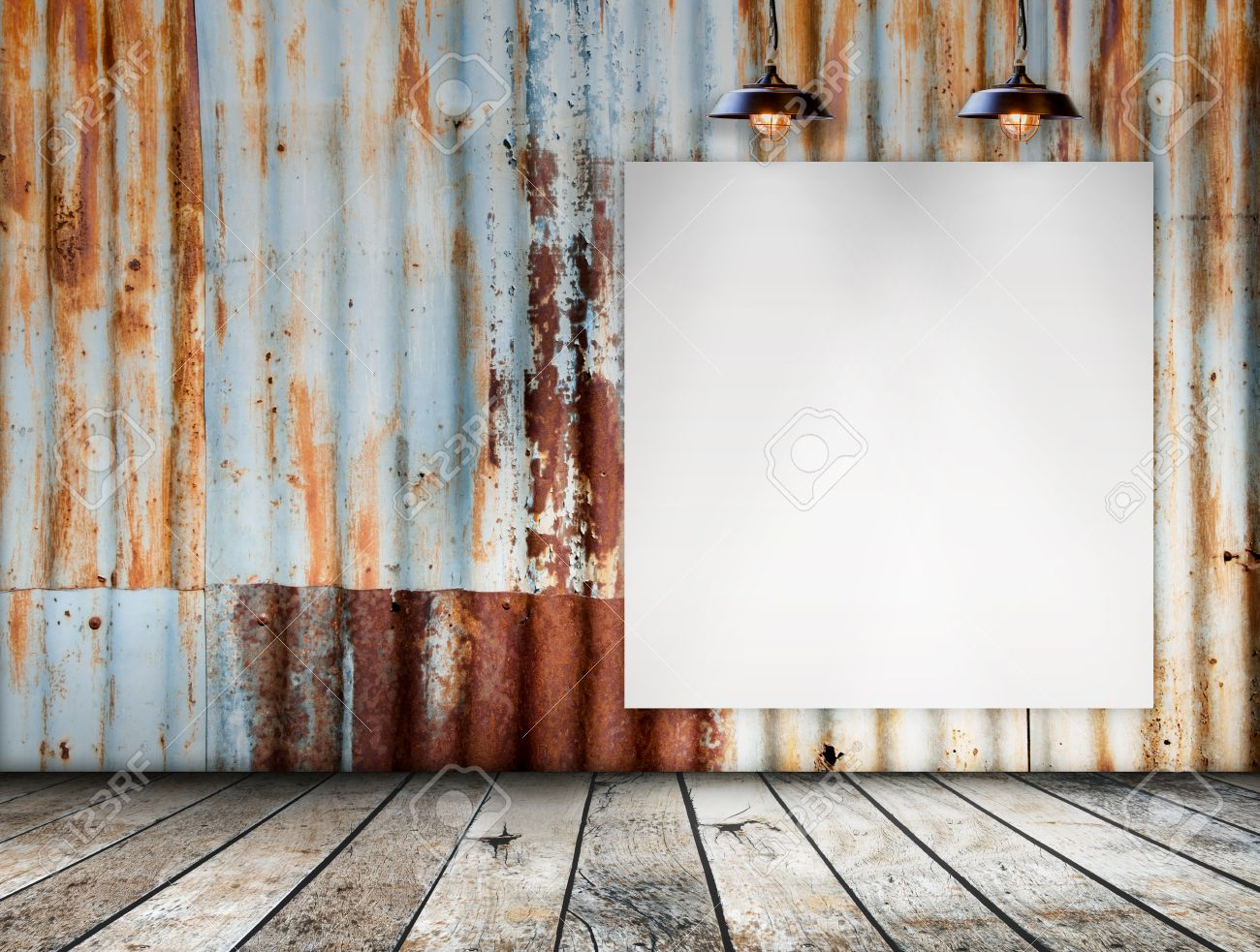 Blank Frame On Rusted Galvanized Iron Plate With Wood Floor Stock ...