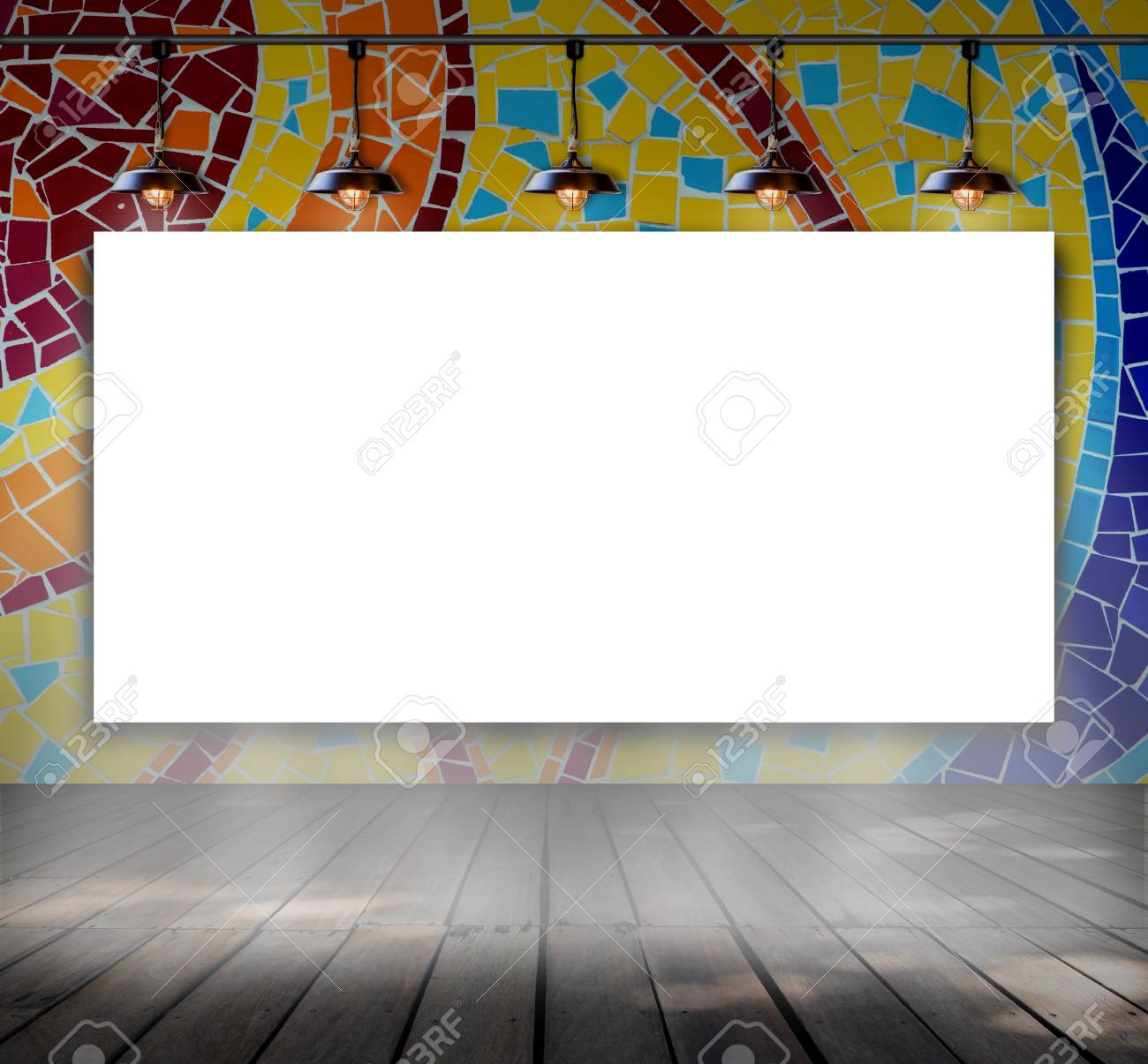 Blank Frame On Mosaic Tile Wall With Ceiling Lamp For Information ...